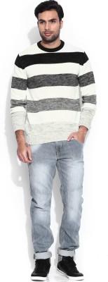 HRX by Hrithik Roshan Self Design Round Neck Casual Men's White Sweater