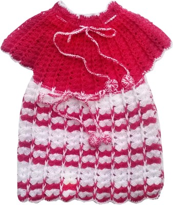 The Wool House Self Design Round Neck Casual Girl's Red Sweater