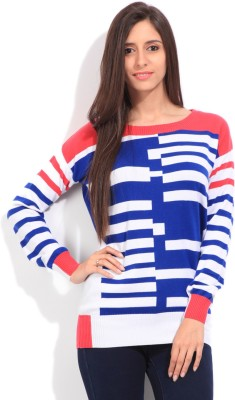 Lee Striped Round Neck Casual Women's White, Blue, Pink Sweater