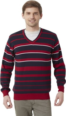 Peter England Striped V-neck Casual Men's Maroon Sweater