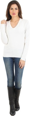 Fashion Haven Solid V-neck Casual Women's White Sweater