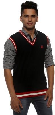Sports 52 Wear Solid V-neck Casual Men's Dark Blue Sweater