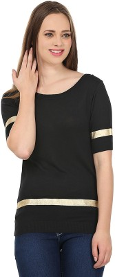 United Colors of Benetton Solid Round Neck Casual Women's Black, Gold Sweater