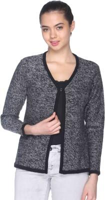 CLUB YORK Self Design V-neck Casual Women's Grey Sweater