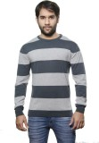 AMX Striped Round Neck Casual Men Grey S...
