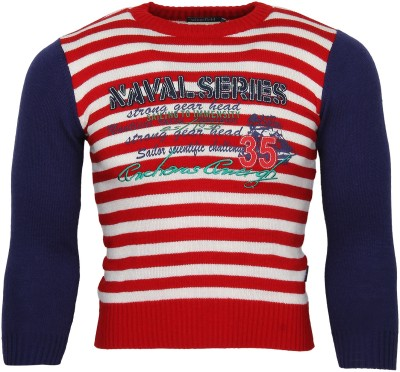 Wingsfield Striped Round Neck Casual Baby Boy's Red Sweater