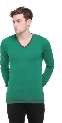CLUB YORK Solid V-neck Casual Men's Green Sweater