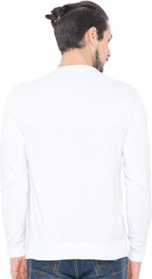 Status Quo Solid V-neck Casual Men's White Sweater