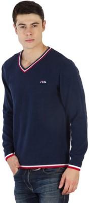 Fila Striped V-neck Sports Men's Blue, White, Red Sweater