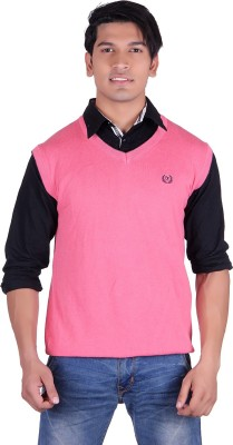 Ogarti Solid V-neck Casual, Party, Festive Men,s Pink Sweater
