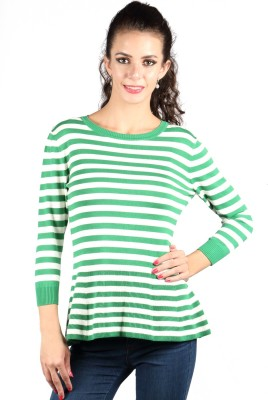 Again Striped Round Neck Casual Women's Green Sweater