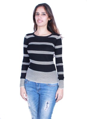 GnC Striped Round Neck Casual Women's Black Sweater
