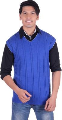 Ogarti Woven, Striped V-neck Casual, Party, Festive Men,s Blue Sweater