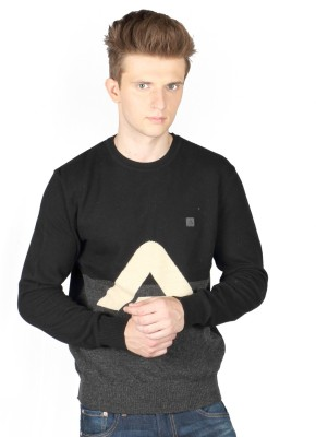 Again Solid Round Neck Casual Men's Black Sweater