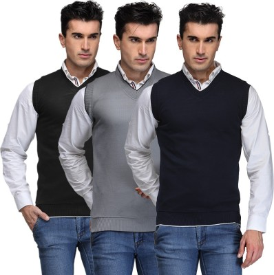 TSX Solid V-neck Casual, Party, Formal Men's Black, Grey, Blue Sweater