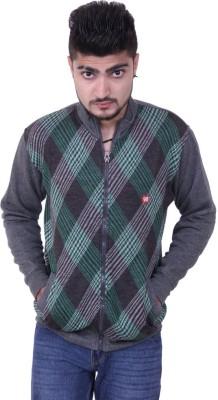 Austrich Checkered Round Neck Casual Men's Green Sweater