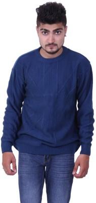 Austrich Solid Round Neck Casual Men's Blue Sweater