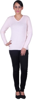 Melzo Solid V-neck Women's Pink Sweater