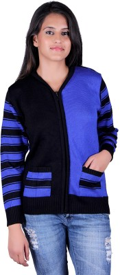 eCools Solid V-neck Party Women's Blue, Black Sweater