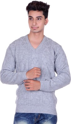 Pierre Carlo Argyle, Solid V-neck Casual Men's Grey Sweater