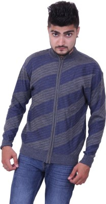 Austrich Striped Round Neck Casual Men's Blue Sweater