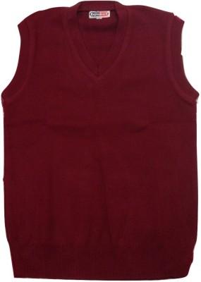 Rajindras Solid V-neck Casual Women's Maroon Sweater