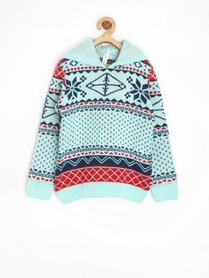 Yellow Kite Self Design V-neck Casual Girl's Blue Sweater