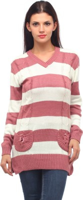 Stylistry Striped V-neck Casual Women's Pink Sweater