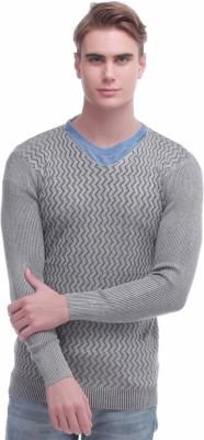 Jogur Self Design V-neck Men's Grey Sweater