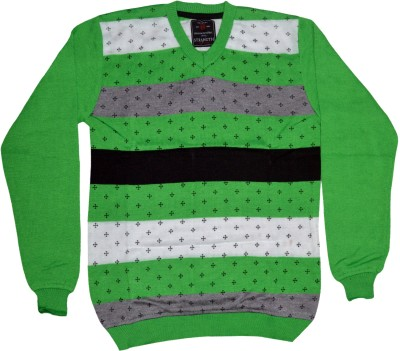 Potato Striped Round Neck Men's Multicolor Sweater