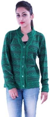 Pazaro Self Design Turtle Neck Casual Women,s Green Sweater