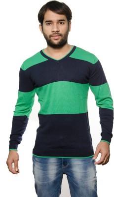AMX Striped V-neck Casual Men's Blue Sweater