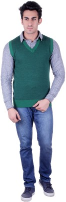 SIOUX Solid V-neck Men's Green Sweater