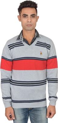 Zhomro Striped V-neck Casual Men,s Grey Sweater