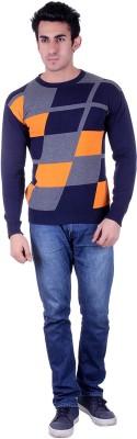 SIOUX Solid Round Neck Men's Dark Blue Sweater