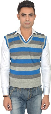Zhomro Striped V-neck Casual Men,s Grey, Blue Sweater