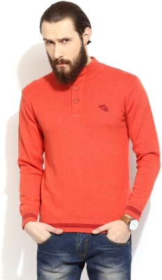 COBB Solid Round Neck Casual Men's Red Sweater