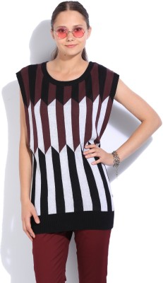 United Colors of Benetton Striped Round Neck Casual Women White, Black, Brown sweater at flipkart