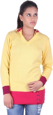 eCools Solid V-neck Party Women's Yellow, Pink, Maroon Sweater