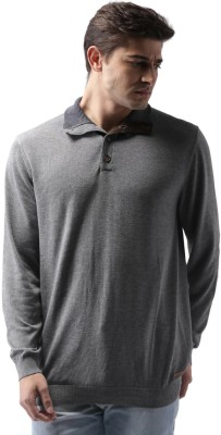 Mast & Harbour Solid Round Neck Casual Men Grey Sweater
