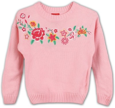 Lilliput Embroidered Round Neck Girl's Pink Sweater