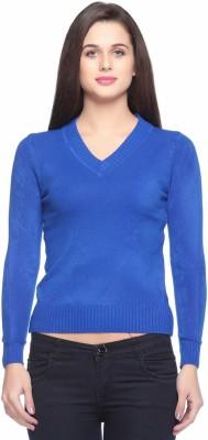 Fasnoya Self Design V-neck Casual Women's Blue Sweater