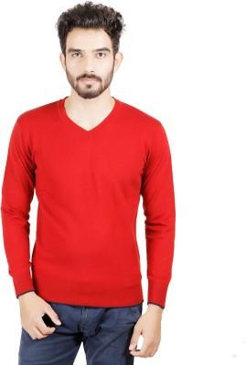 Numero Uno Solid V-neck Casual Men's Red Sweater