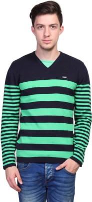 TSAVO Striped V-neck Casual Men's Blue Sweater
