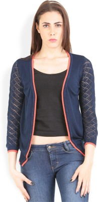 Lee Solid Round Neck Casual Women's Dark Blue Sweater