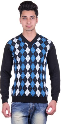 Urban Street Argyle V-neck Casual, Party Men's Black Sweater