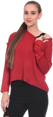 Saiints Solid Scoop Neck Casual Women's Red, Grey Sweater