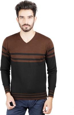 Numero Uno Striped V-neck Casual Men's Brown, Black Sweater
