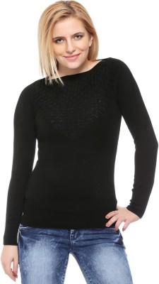Fasnoya Self Design Round Neck Casual Women's Black Sweater