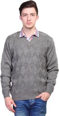 Priknit Self Design V-neck Casual Men's Grey Sweater